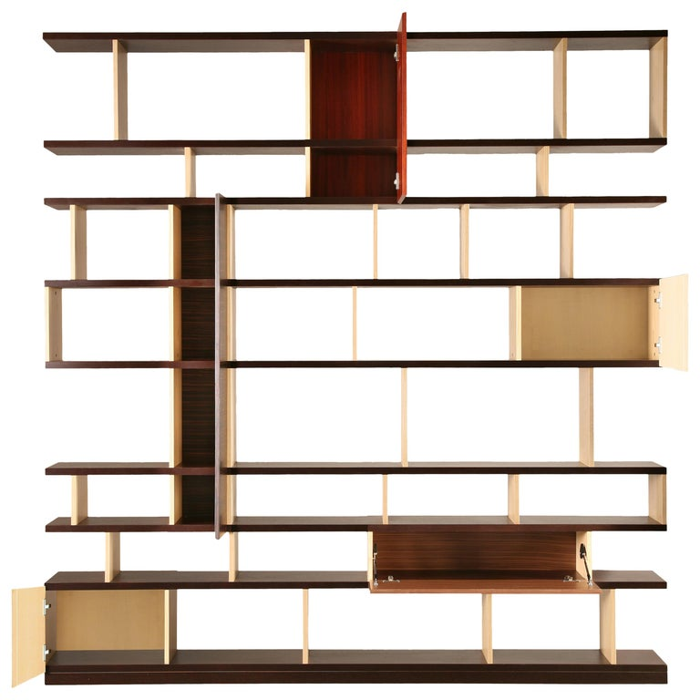 Babilonia, Freestanding Bookcase with woods patchwork, deasign Maurizio Duranti For Sale