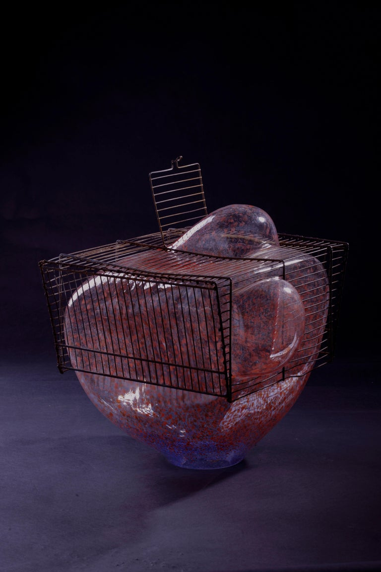 Baby Bird Cage by Lorenzo Passi Glass and Metal Art For Sale 4