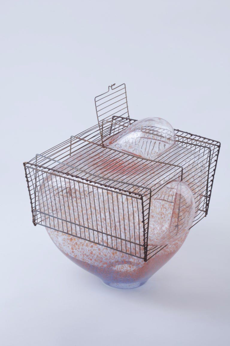 Italian Baby Bird Cage by Lorenzo Passi Glass and Metal Art For Sale