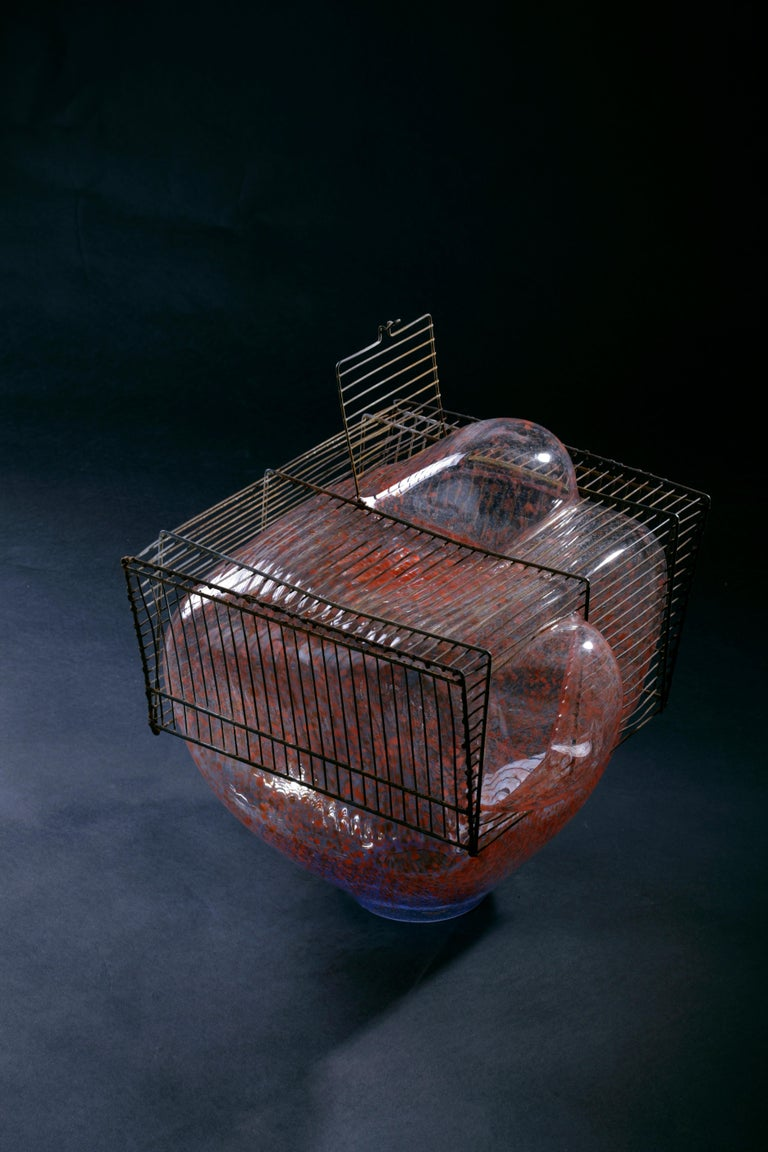Forged Baby Bird Cage by Lorenzo Passi Glass and Metal Art For Sale
