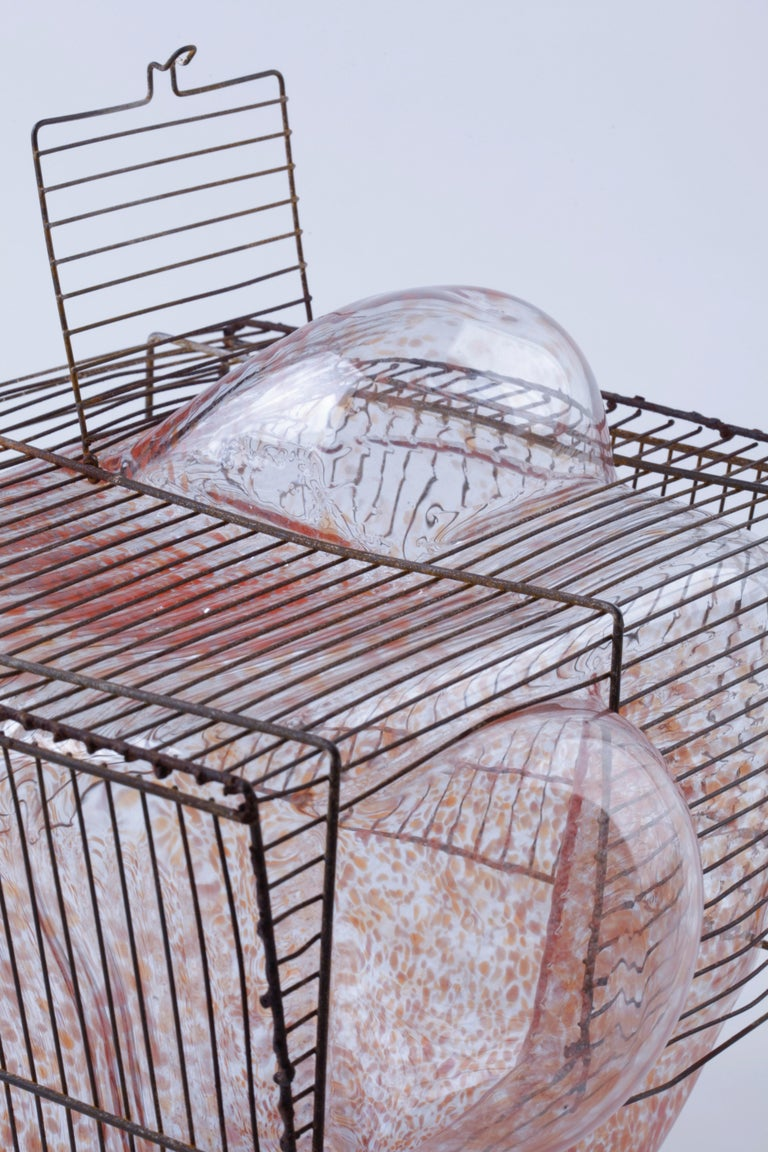 Baby Bird Cage by Lorenzo Passi Glass and Metal Art In Fair Condition For Sale In Venice, IT