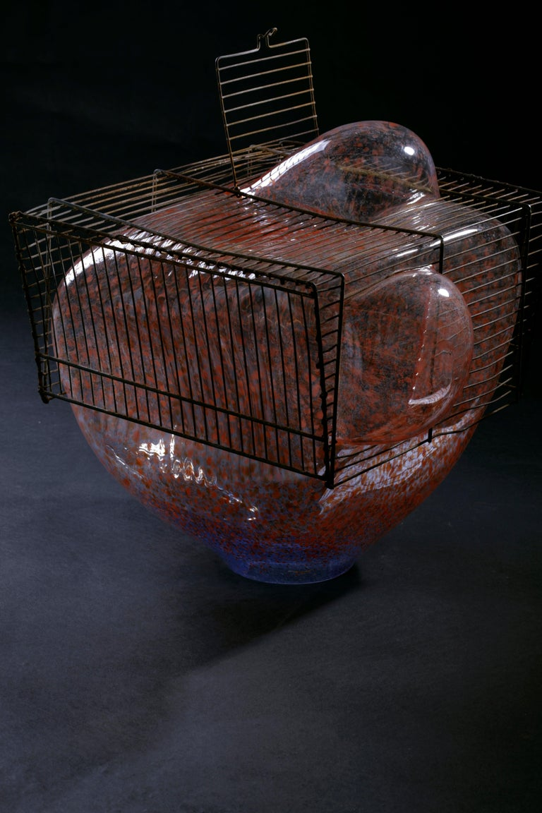 Contemporary Baby Bird Cage by Lorenzo Passi Glass and Metal Art For Sale