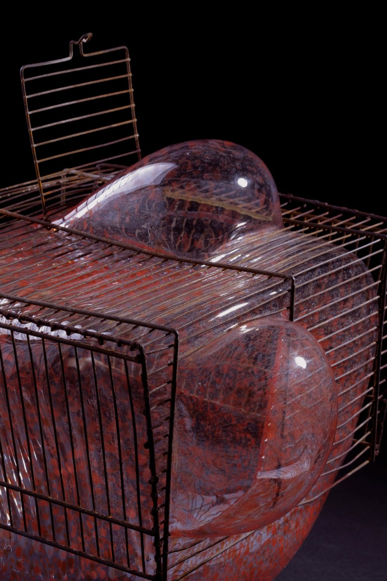 Baby Bird Cage by Lorenzo Passi Glass and Metal Art For Sale 1