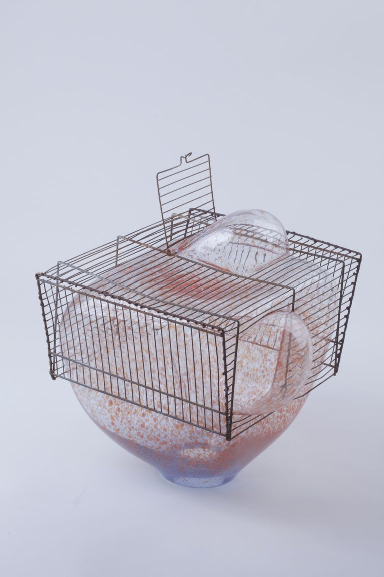 Baby Bird Cage by Lorenzo Passi Glass and Metal Art For Sale 2