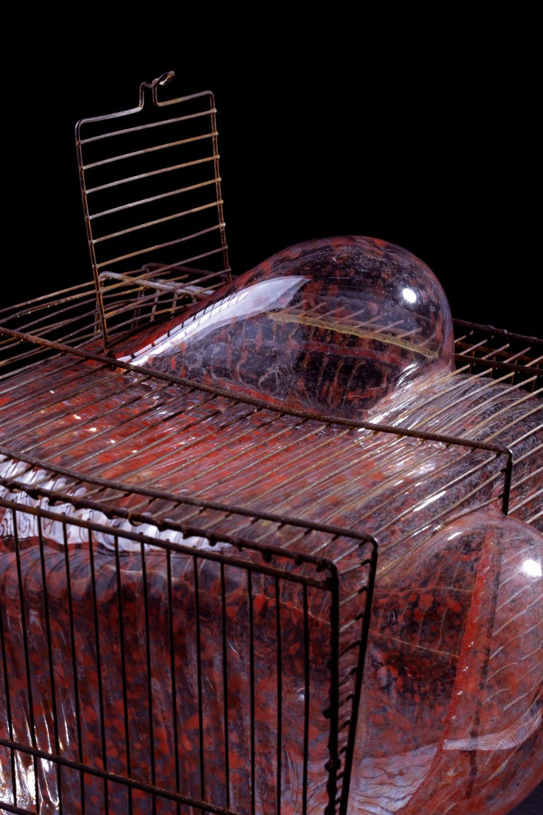Baby Bird Cage by Lorenzo Passi Glass and Metal Art For Sale 3