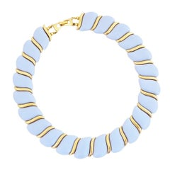Baby Blue Acrylic Articulating Choker Necklace, 1960s
