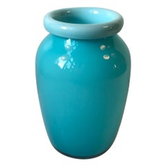Baby Blue Glass Vase with folded Collar by Michael Bang for Holmegaard, 1970s