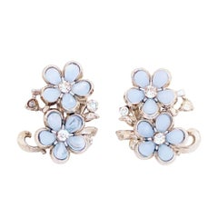 Baby Blue Moonglow Lucite Flower Climber Earrings By Coro, 1950s