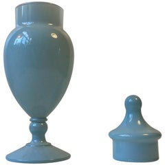 Baby Blue Murano Glass Urn or Lidded Vase by Cenedese Vetri