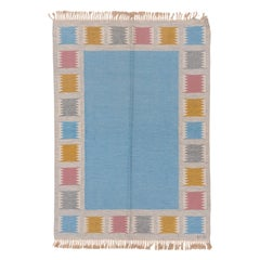 Baby Blue Scandinavian Rollaken Flatweave Rug, Colorful Decorative Borders