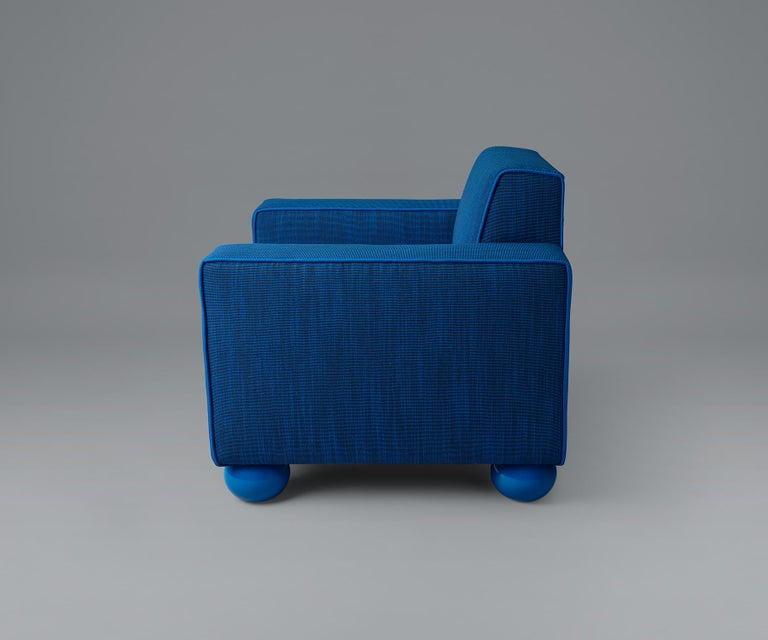 Modern Baby Blue Upholstered Armchair with Lacquered Ball Feet by Another Human For Sale