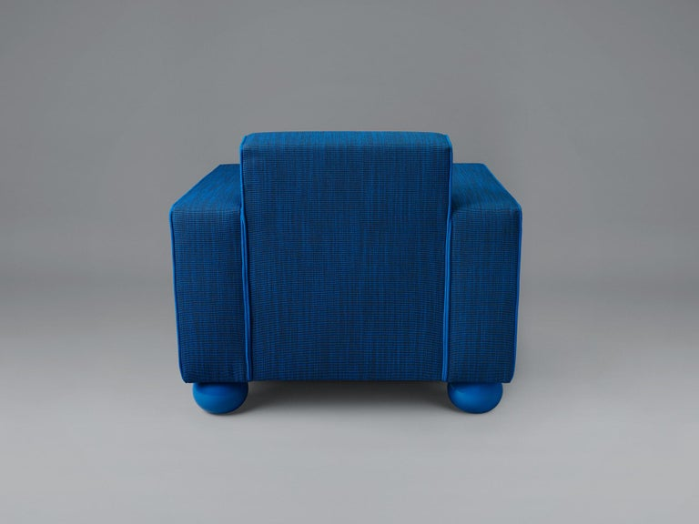 American Baby Blue Upholstered Armchair with Lacquered Ball Feet by Another Human For Sale