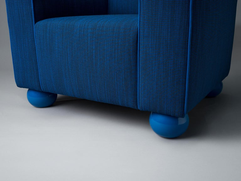Baby Blue Upholstered Armchair with Lacquered Ball Feet by Another Human In New Condition For Sale In Brooklyn, NY