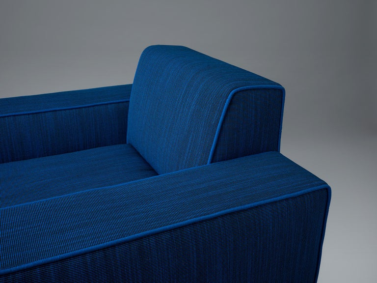 Contemporary Baby Blue Upholstered Armchair with Lacquered Ball Feet by Another Human For Sale