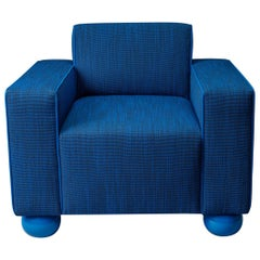 Baby Blue Upholstered Armchair with Lacquered Ball Feet by Another Human