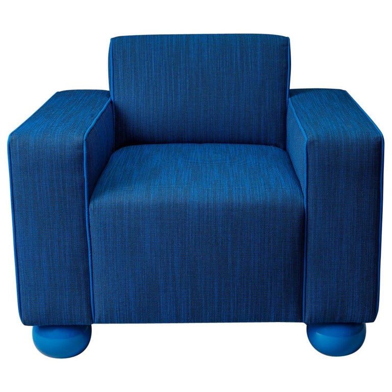 Baby Blue Upholstered Armchair with Lacquered Ball Feet by Another Human For Sale