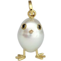 Baby Chick Australian Pearl Black Diamond 18 Karat Gold Pendant or Necklace