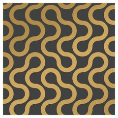Baby Designer Wallpaper in Color Eclipse 'Metallic Gold on Charcoal'