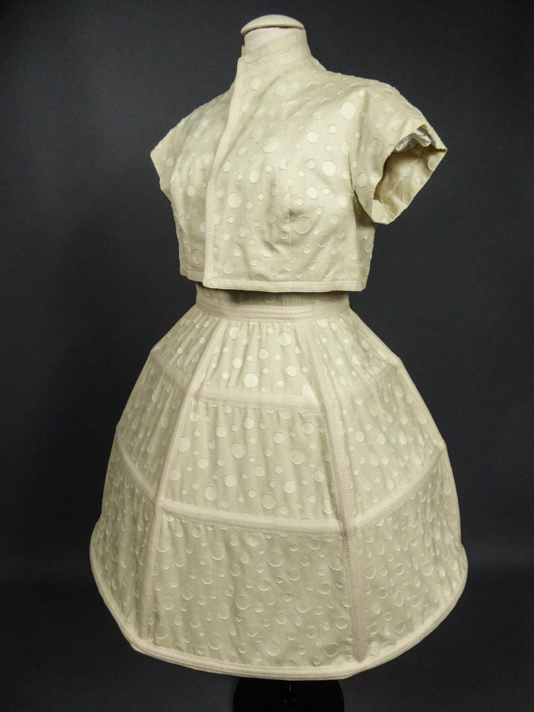 Circa 1980 France  Amazing Baby Doll style set including a hoop dress, a Bermuda shorts and a bolero from the Couture designer house Andrée Vizir in Lyon and dating from the 1980s. From the wardrobe of Ms. Augier, owner of the Negresco Palace in
