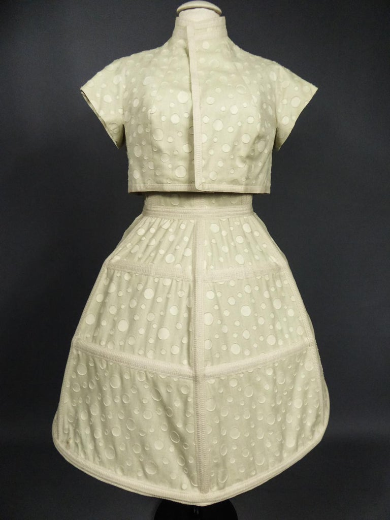 Beige Baby Doll Set Dress Bolero & Pants from Andrée Vizir French House Circa 1980 For Sale