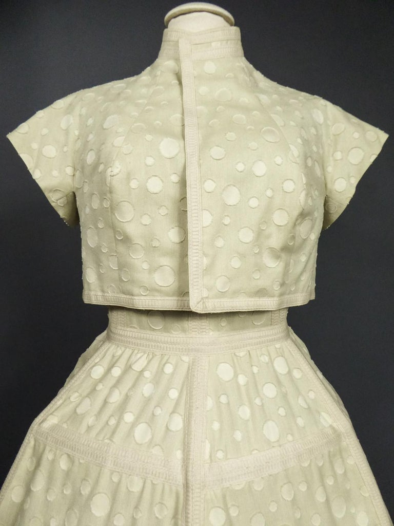 Baby Doll Set Dress Bolero & Pants from Andrée Vizir French House Circa 1980 In Excellent Condition For Sale In Toulon, FR
