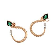 Baby Dragon Emerald Hoop Earrings in 14 Karat Rose Gold
