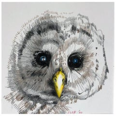 Baby Owl, Colored Pencil Drawing of a Fledgling Screech Owl, Matted and Framed