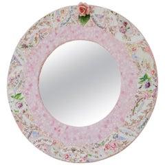 Baby Pink Mosaic Round Mirror by