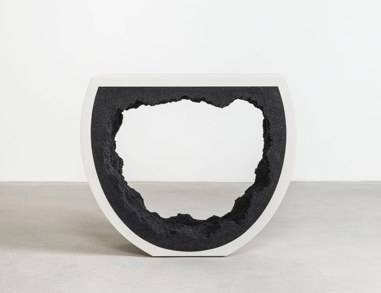 American Baby Radius Console, White Cement and Black Silica by Fernando Mastrangelo For Sale