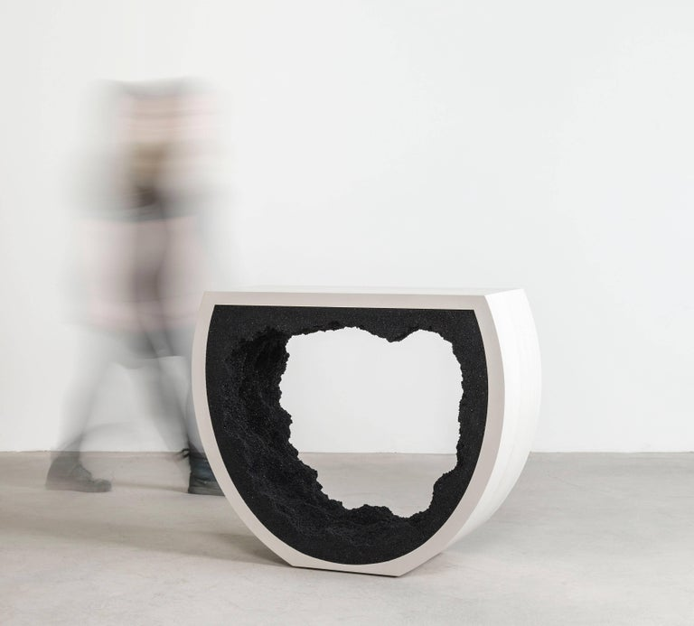 Cast Baby Radius Console, White Cement and Black Silica by Fernando Mastrangelo For Sale