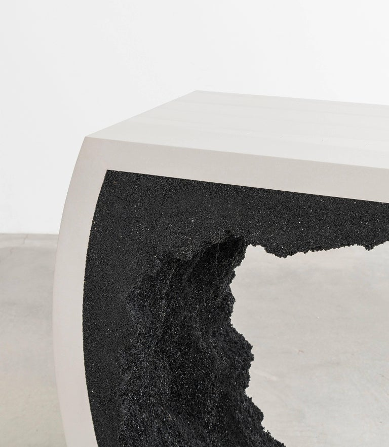 Baby Radius Console, White Cement and Black Silica by Fernando Mastrangelo In New Condition For Sale In Brooklyn, NY