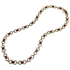 Baby Seed Pearl and Red Enamel Necklace in 18 Karat Gold