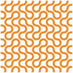 Baby Type II Eco-Friendly Wallpaper in Sunkist 'Tangerine Orange and Pale Grey'