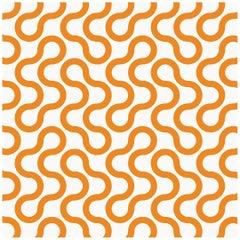 Baby Type II Eco-Friendly Wallpaper in Sunkist 'Tangerine Orange and Pale Grey'