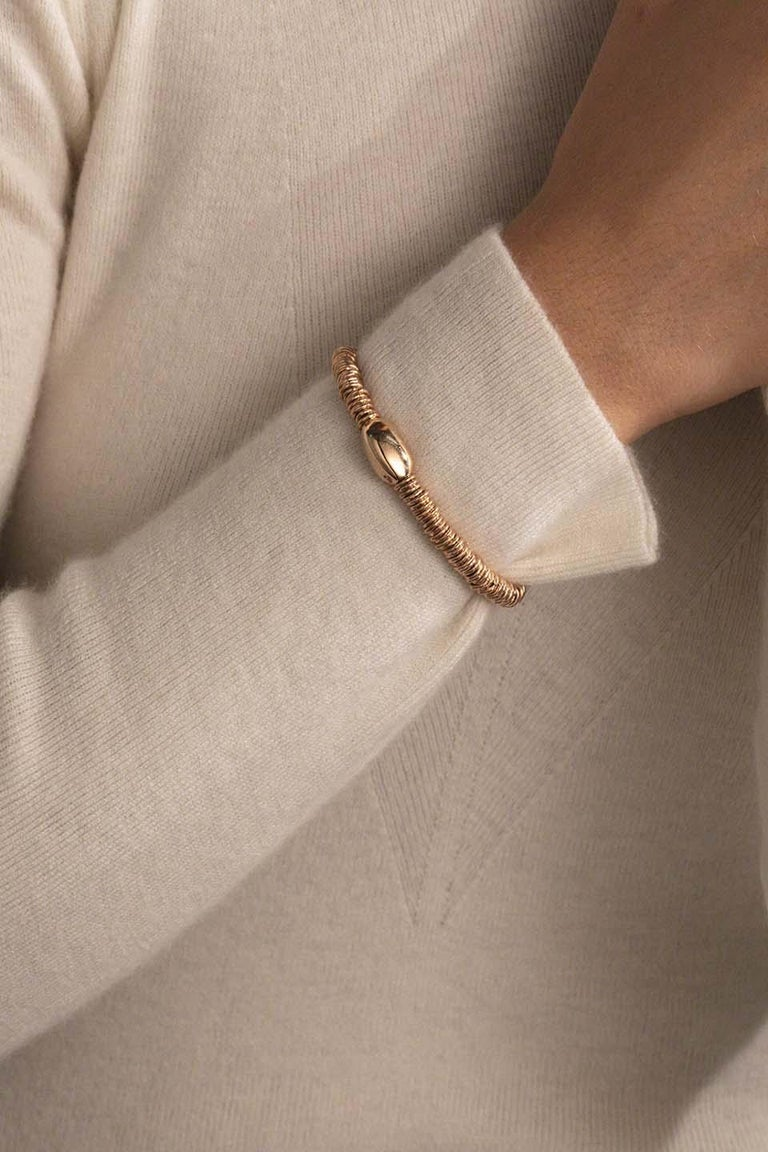 BabyBang Rosé Bracelet / Rose Gold. Stretch silver bracelet with a rose gold 9Kt nugget.  Practical. Attractive. Contemporary The Bang collection, best-seller elastic bracelet for several years, is enriched by a smaller version, more cool and