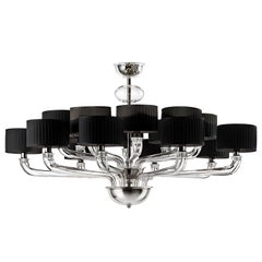Babylon 5599 16 Chandelier in Dark Chrome and Black Shade, by Barovier&Toso