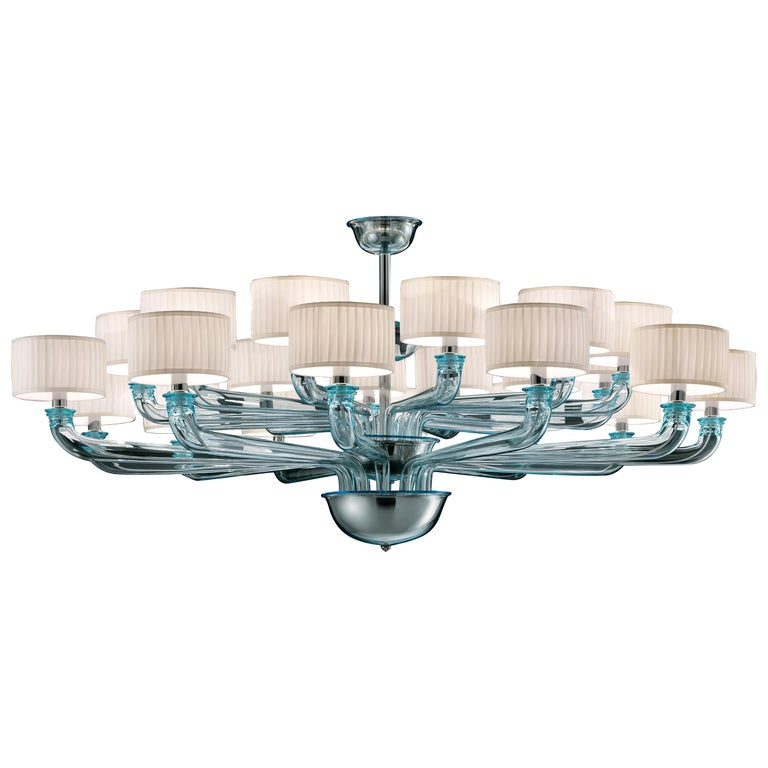 For Sale: Blue (Aquamarine_AQ) Babylon 5599 24 Chandelier in Dark Chrome and White Shade, by Barovier&Toso