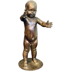 """""""Baby's First Step,"""" Charming, Rare Bronze Sculpture by Piccirilli for LaGuardia"""