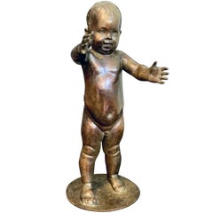 """Baby's First Step,"" Charming, Rare Bronze Sculpture by Piccirilli for LaGuardia"