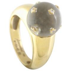 Baccarat 18 Karat Yellow Gold Diamond Crystal Ball Ring