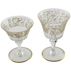 Baccarat Bergame Parme Gilt Etched Crystal Glasses with Paneled Stems Set of 16