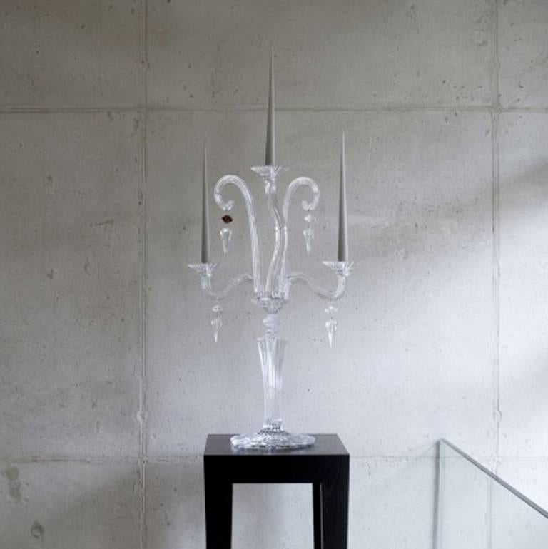 Modern Baccarat Clear Crystal Mill Nuits French Mathias Design Candelabra For Sale
