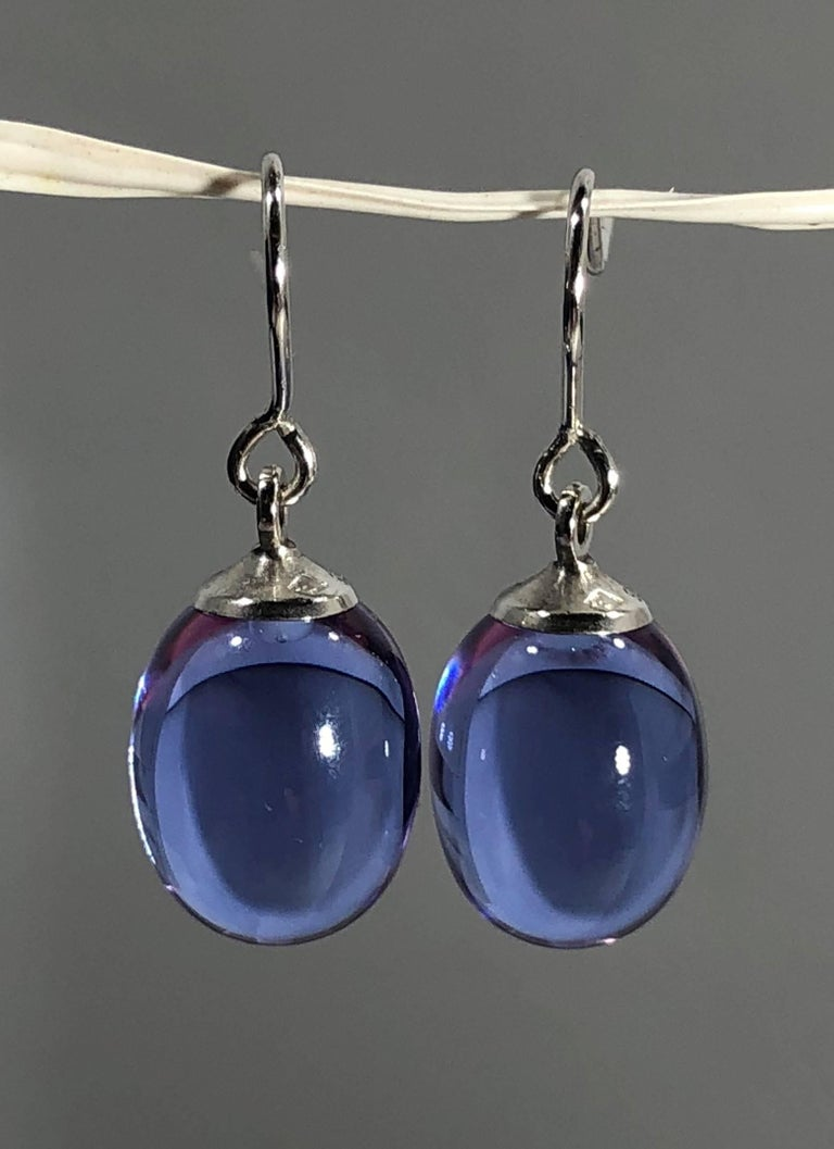 Women's or Men's Baccarat Crystal and Sterling Silver Blue Irridescent Drop Earrings For Sale
