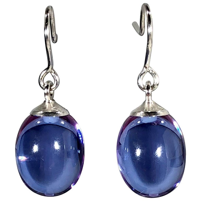 Baccarat Crystal and Sterling Silver Blue Irridescent Drop Earrings For Sale