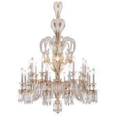 Baccarat Crystal and White Opaline Four-Tier 24-Light Chandelier, Stamped