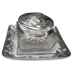 """Baccarat Crystal Box mounted Sterling Silver on dish by """"Escalier de Cristal"""""""