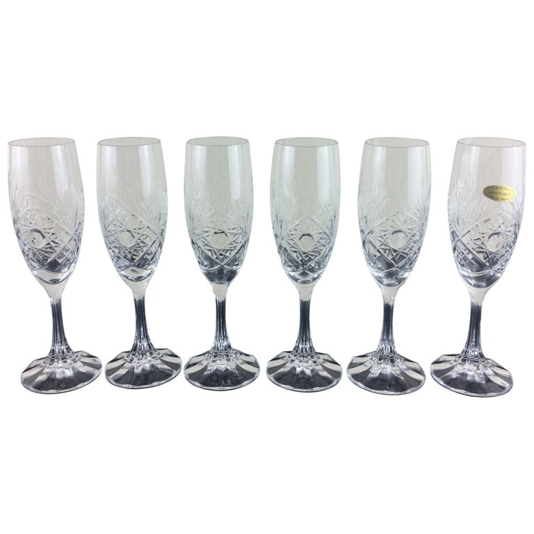Baccarat Crystal Champagne Flutes Set Of 6 In Original Box For Sale At 1stdibs