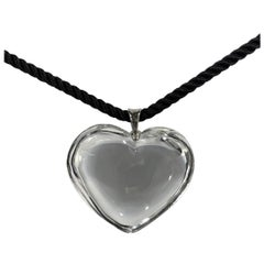 Baccarat Crystal Heart Pendant with Two-Color Option Silk Cord Necklace