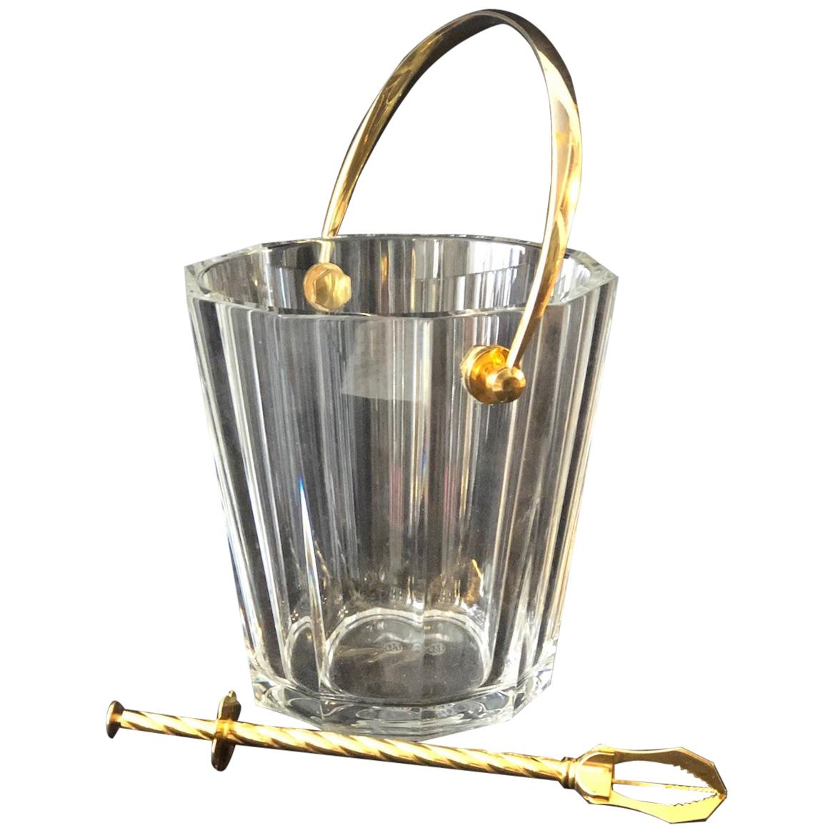Baccarat Crystal Ice Bucket / Champagne Cooler with Handle & Ice Tongs, France