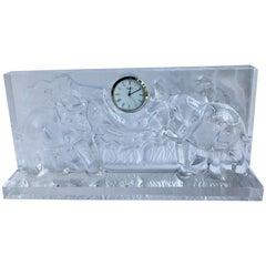 Baccarat Crystal Mantel Clock with Elephants